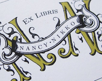 Personalized bookplate with 17th century monogram initials