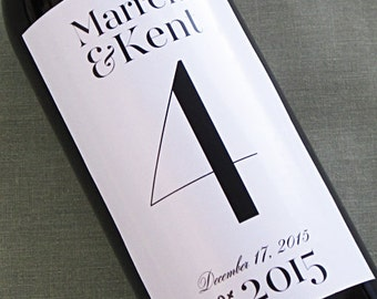 Wine label table number with contemporary typography