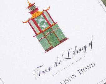 CUSTOM BOOKPLATES with Chinoiserie Pagoda Motif - set of 24