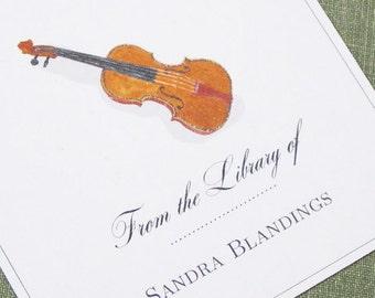 CUSTOM  BOOKPLATES with Violin illustration - set of 24