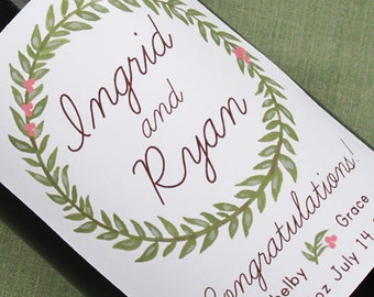 Wine label for baby shower, new baby announcement, or wedding