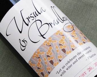 Wine Label with Nouveau Pattern for weddings and special occasions