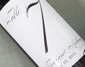 Wedding Table Number Wine Label, Formal and Elegant