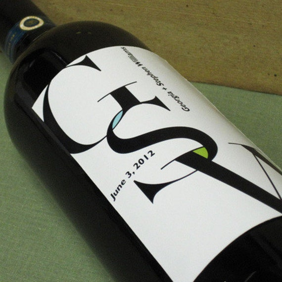 Custom Wine Labels with Monogram for Weddings, Parties, Special Events, Anniversaries, Birthdays