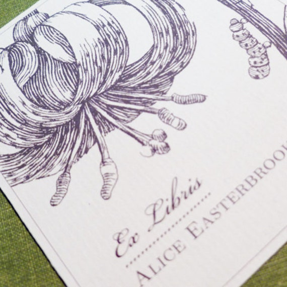 CUSTOM BOOKPLATE BOTANICAL Asian Lotus Motif - set of 24