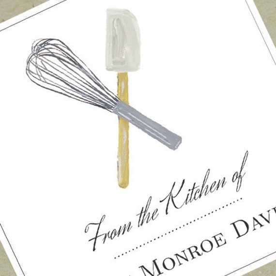 From the Kitchen of Label or Bookplate with Whisk and Spatula- set of 18