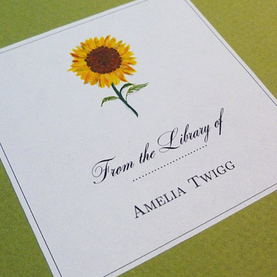 Personalized Bookplate Sunflower Motif - set of 24