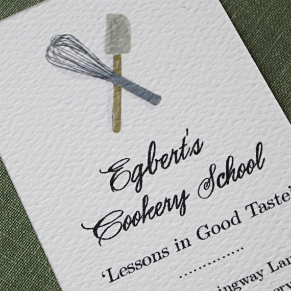 Custom Business Cards with Whisk and Spatula Motif  - Set of 50