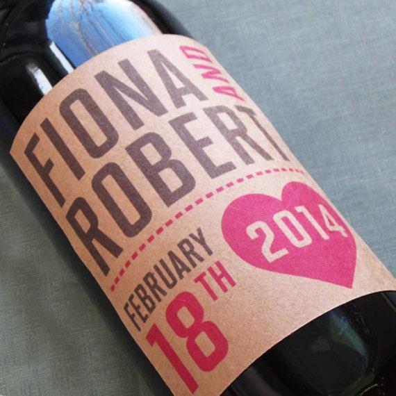 Kraft Wedding wine label with heart for anniversary,birthday, Valentines Day Set of 18