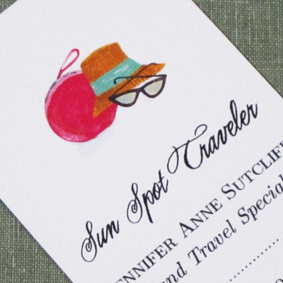Custom Business Card with Vintage Fashion Travel Motif