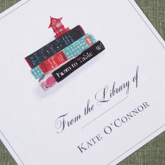 CUSTOM  BOOKPLATES with Cook Book Stack and pagoda- set of 24