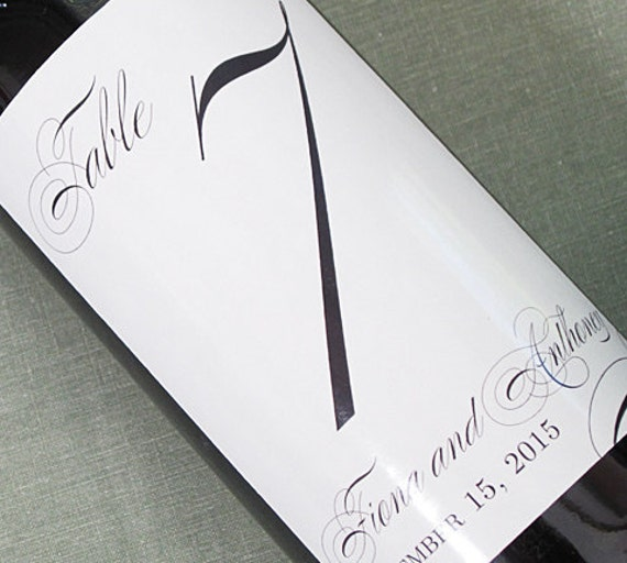Wedding Table Number Wine Label, Formal and Elegant