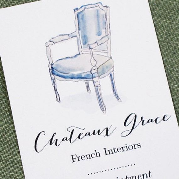 Interior Design Business Card,Antique Business Card,Staging Card, Personalized business card with French Louis XVI Chair, Set of 50