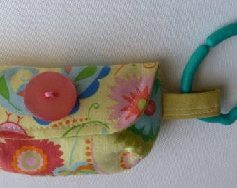 Pacifier Pouch or Walk the Dog Bag-Pretty yellow birds keychain clutch