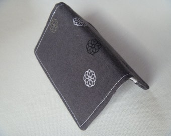Business card holder/mini wallet/business card wallet/gift card case men women- Gray floral