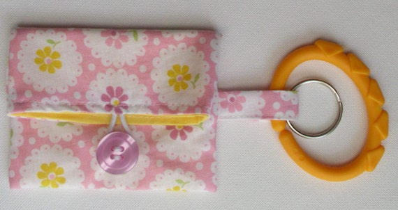 Pretty Pink Flowers Fold over pacifier pouch