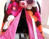 Infant Car Seat canopy cover Cuddler -- MADE to ORDER -- Bold and Bright Summer Daisy
