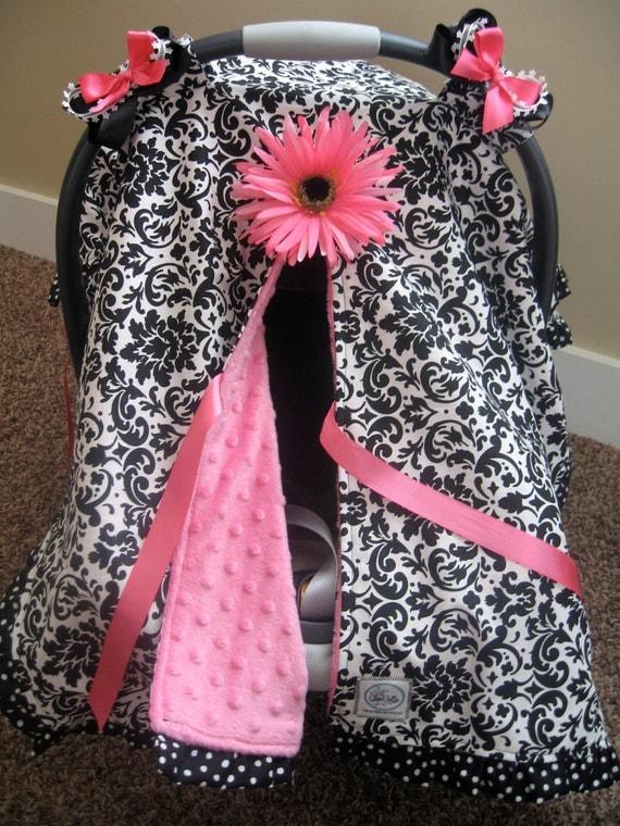 infant car seat canopy cover cuddler black by cocobellasboutique. Black Bedroom Furniture Sets. Home Design Ideas