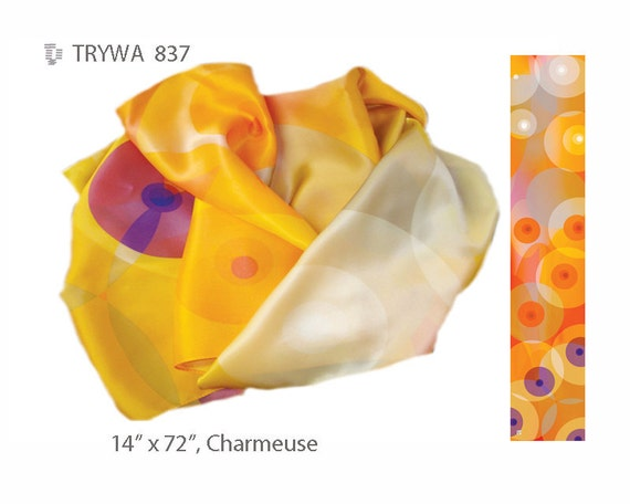 """OVERLAPPING CIRCLES: A silk charmuse scarf with circles in orange, yellow, white, pink, gray and purple 14"""" X 72"""" 35.6cm X 182.9cm #837"""