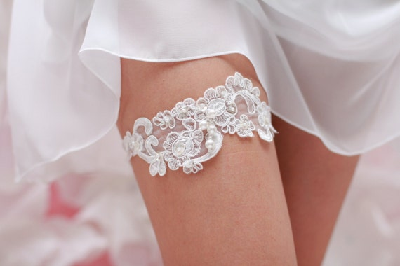 Wedding Garter White Bridal Lace  with pearls and glass beads