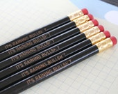 it is raining Bullsh&t. MATURE 6 six pack pencil set in black for writing in your secret diary.