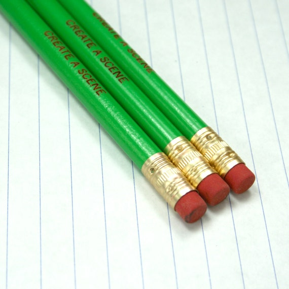 create a scene green 3 three pencils for all sensational stars. life is a play, steal the show. green pencils, red eraser.