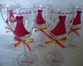 Hand Painted Bride, Bridesmaids Wine Glasses ---Custom orders welcome Bridesmaid gift ideas