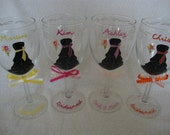 Set of 4 --Hand Painted Bride, Bridesmaids Wine Glasses ---Custom orders welcome Bridesmaid gift ideas