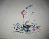 centerpiece linen table runner, bird house pattern
