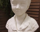 Vintage Distressed Shabby Chic Chalk Ware Bust of a Boy