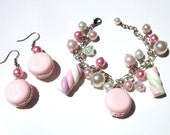 Pink macaron and Marshmallow bracelet and earrings