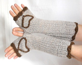 Wool Fingerless Gloves , hand warmers, mittens , heart design, ecru color