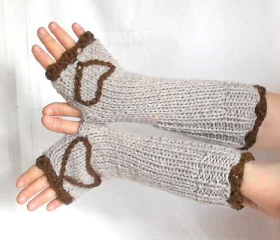 Wool Fingerless Gloves , hand warmers, mittens , heart design, ecru color
