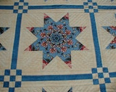 Quilt Hand Quilted Blue and Ecru Stack n Whack - RESERVED for bonneydog
