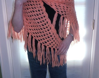 Ladies Shawl or Wrap Orange Shawl Woman's Soft Coral Orange Lacy Coverup Wrap Hand Crocheted