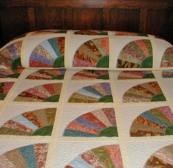 Quilt Pattern For Grandmother S Fan : RESERVED for Erica Queen Size Bed Quilt Grandmother s Fan
