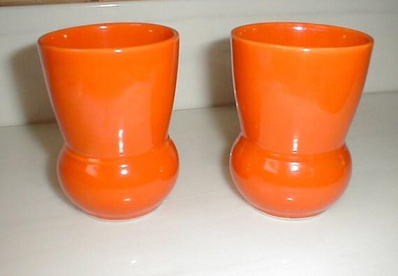 Vernon Kilns Early California Vintage Orange Tumblers