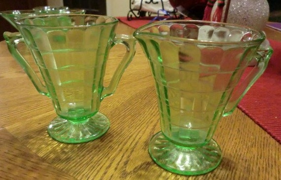 Vintage Green Depression Glass Cubed Optic Creamer and Sugar-Art Deco style