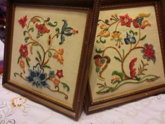 """Vintage-(RESERVED)Two Square Crewel Framed Wall Hangings-Retro """"Mad Men"""" decor"""