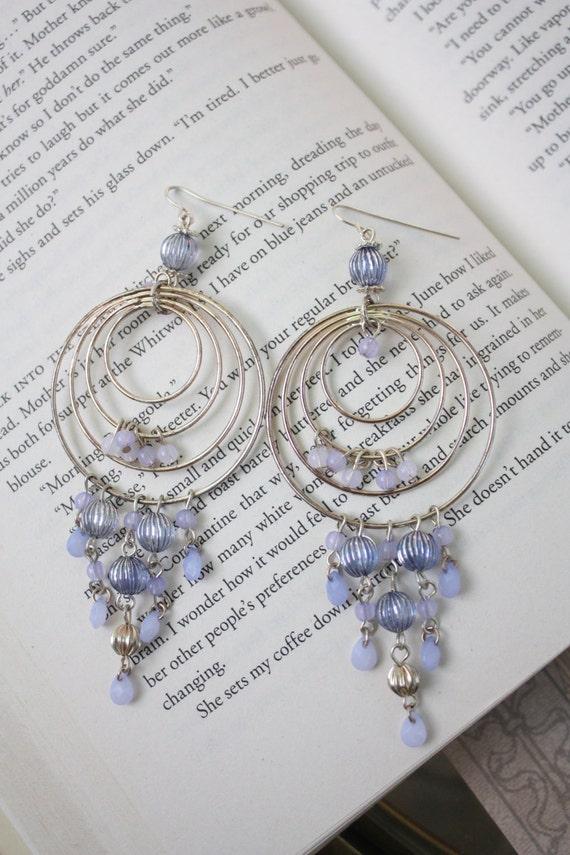 Silver & Lavender Hoop Chandelier Earrings