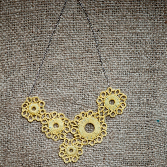 Sunbreak Tatted Asymmetrical Flower Necklace - Buttercup and Silver - Huang Nan 11