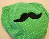 Upcycled Potty Training Pants Green with Mustache Applique size 12 - 24 months