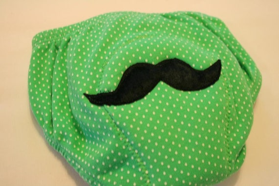 Upcycled Potty Training Pants Green with Mustache Applique size 2 - 3