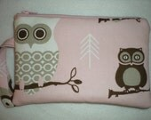 Pink and brown owl wristlet