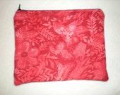 Red batik cosmetic bag