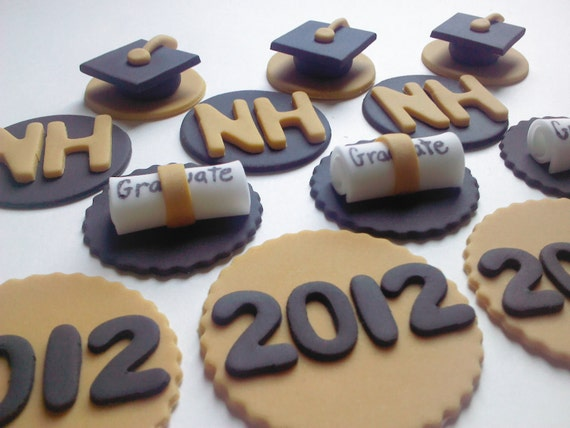 Custom Order for Rebecca, Graduation 2012, Cupcake or Cookie Topper, Edible Fondant with Matching Liners