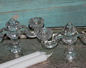 Two ShabBY chIC ThICK glASS caNDLE hOLDERs Wedding Decor