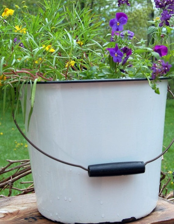 Vintage Enamelware Black and White Farm Bucket