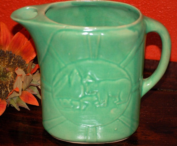 Very Rare Early Green Stoneware Pottery Milk  Pitcher