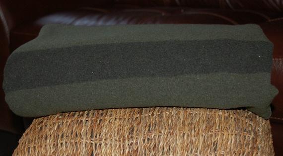 Vintage USMC Military WOOL Blanket Gray Green Navy Stripe